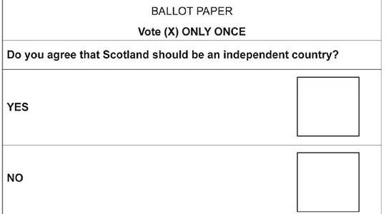 Scottish Independence Paper Ballot